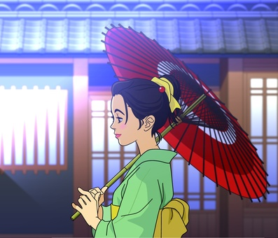 Image of a woman holding a Japanese umbrella - 006 A