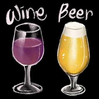 Chalk art of wine and beer