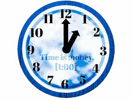 Clock 1 o'clock dial sky