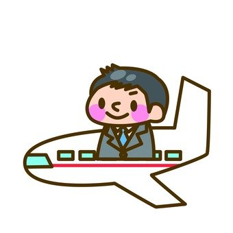 Businessman and plane