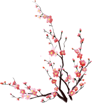 Watercolor plum tree