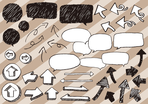 Hand-drawn arrows and speech balloons