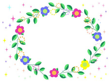 Elliptical frame of flowers and green and glitter