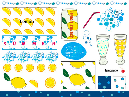 Lemon and soda patterns and lines