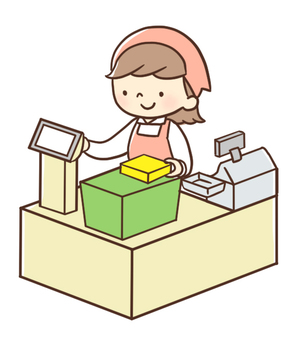 A woman with a cash register