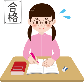 Studying for entrance examinations (girls)