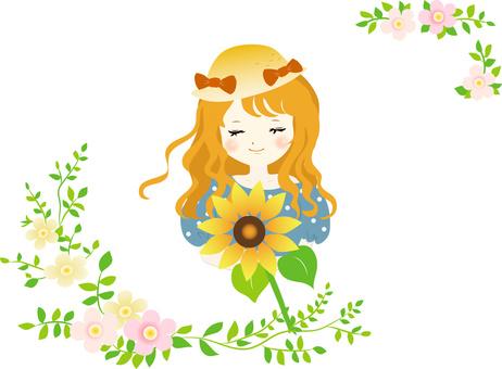 Sunflower and girl frame