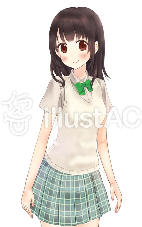 女子生徒 夏 学生服 上半身イラスト No 無料イラストなら イラストac