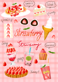 Strawberries and cute strawberry sweets and drinks