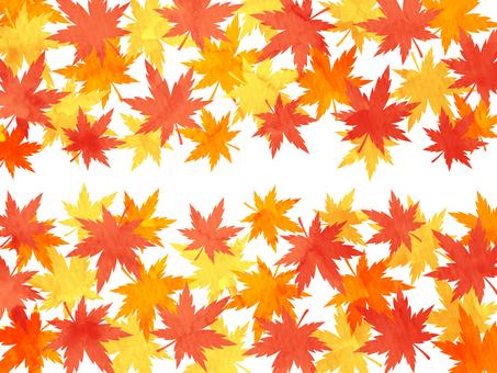 秋の紅葉 モミジの水彩風上下背景素材