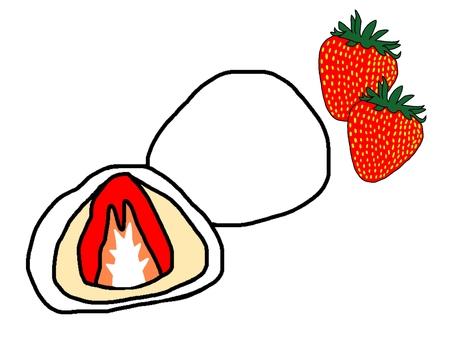 Strawberry Daifuku with white bean jam