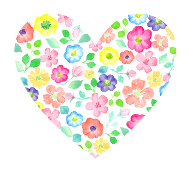 A big heart with watercolor flowers