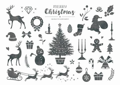 冬のシルエットイラスト クリスマス 白黒