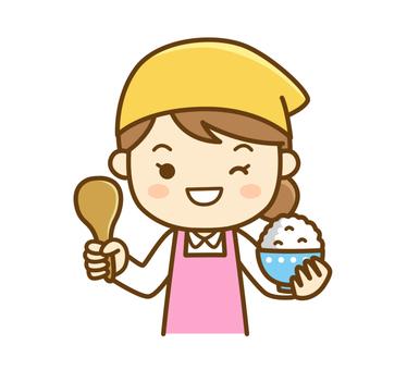 Apron ladies rice cooking