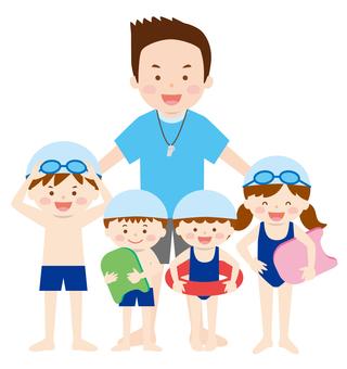 Teacher and children 02_ Swimming