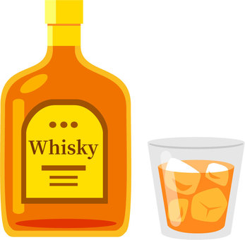 Whiskey and glass