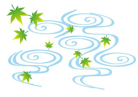 푸른 단풍과 파도