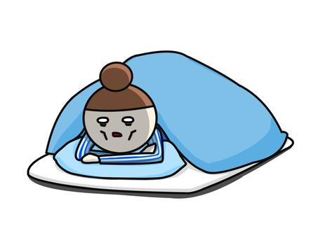 Sleepy lying face-down blue