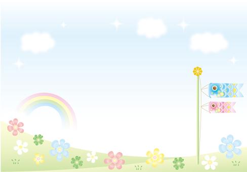 Carp streamer and flower garden and rainbow