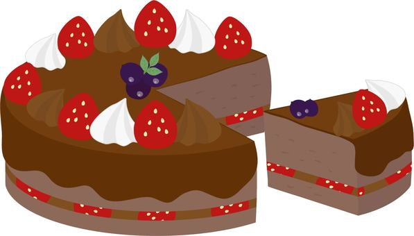 Strawberry chocolate whole cake and cut cake