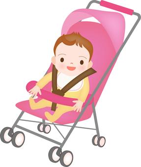 Baby riding a stroller