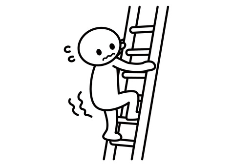 Stick figures - I am afraid to look down at the ladder