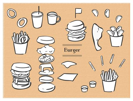 Hand drawn burger set black line