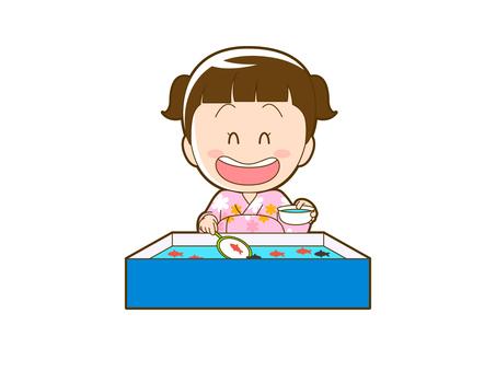 Summer _ Goldfish scoop girl in yukata _ 007