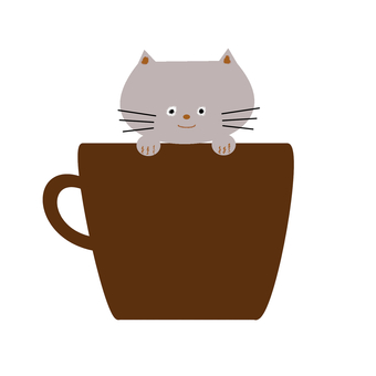 Gray cat and coffee cup