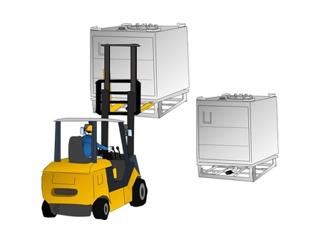 Container double stack with forklift
