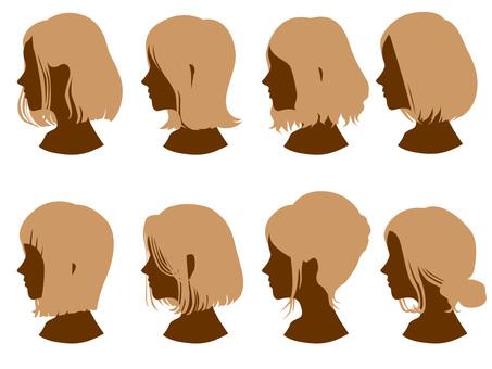 Female head silhouette hair style 4