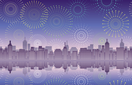 Seamless city and fireworks background