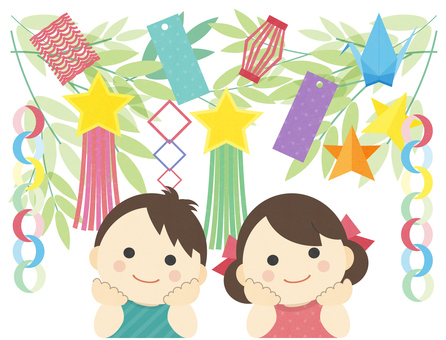 Tanabata cute kid illustration