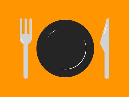 Knife and fork and plate