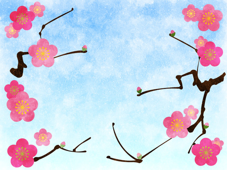 Plum blossom and blue sky background watercolor style