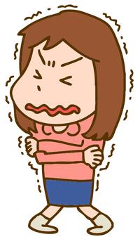 Illustration of trembling women