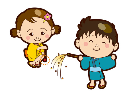 Children playing fireworks