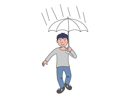 A boy with an umbrella