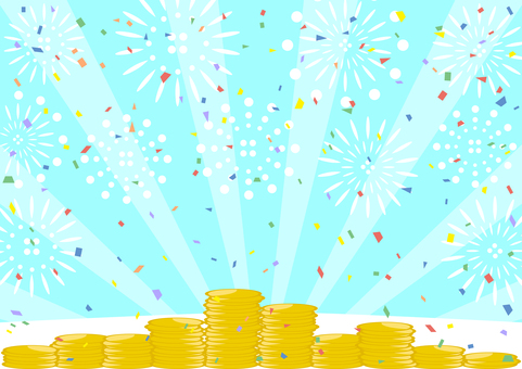 Coin Fireworks Confetti Concentrated Line Background