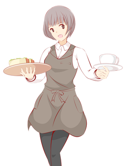 Girl cafe clerk