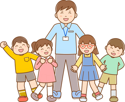 Male teacher and children B line available