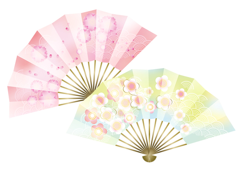 Plum and peach & fan 1
