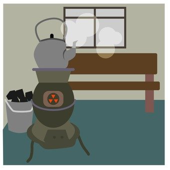 A room with a stove