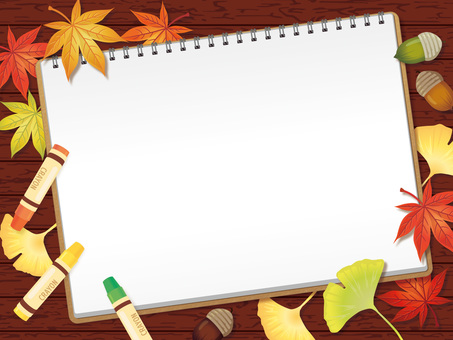 Sketchbooks and crayons and fallen leaves Background B