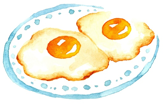 2 fried eggs watercolor