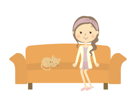 A woman sitting on a sofa 1