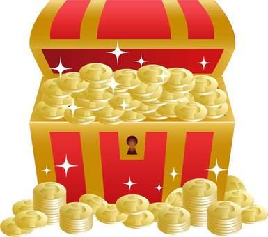 Treasure box full of coins