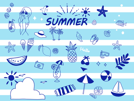 Handwritten summer illustration set 4