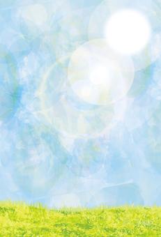 배경 푸른 하늘 여름 하늘 수채화 텍스처 [엽서 크기]