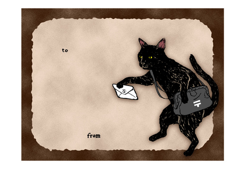 Message card to cut and make (black cat)